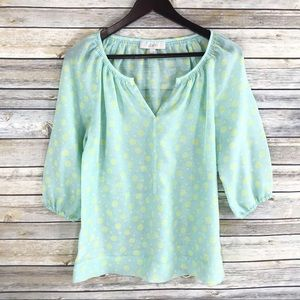 Loft Semi Sheer Polka Dot Popover Blouse Top